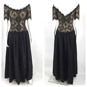 VINTAGE Dress S Lace 50s 60s Ball Gown Cocktail